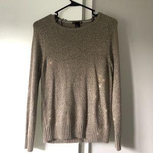 H&M glitter basic crew neck sweater tan